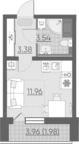 Студия, 22.84 м²