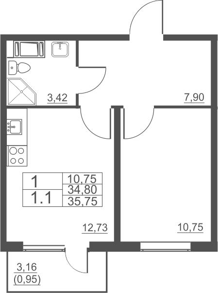 1-комнатная, 35.75 м²– 2