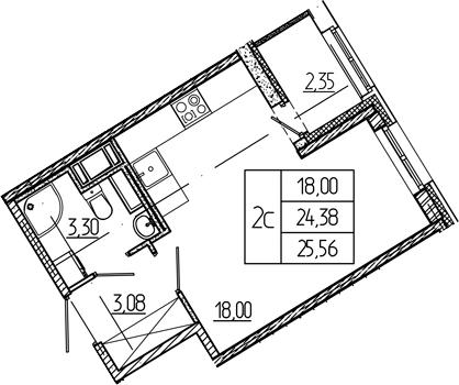 Студия, 26.73 м²