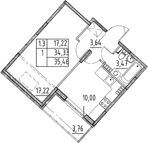 1-к.кв, 34.33 м², 5 этаж