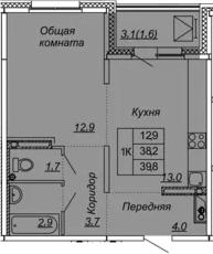 1-комнатная квартира, 39.8 м², 9 этаж – Планировка