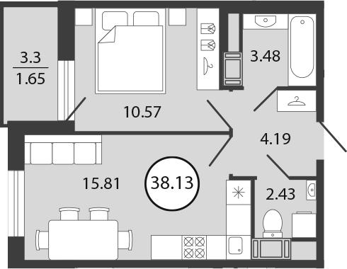 2Е-к.кв, 38.13 м², от 3 этажа
