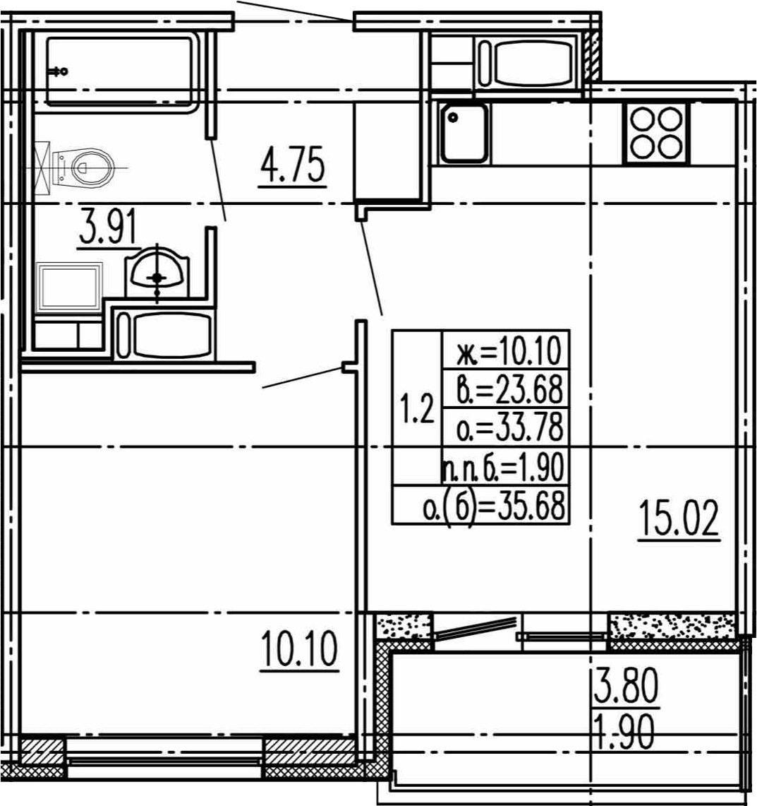 2Е-к.кв, 33.78 м², 10 этаж