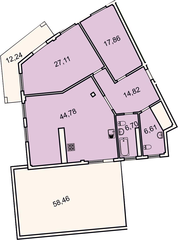 3Е-комнатная, 121.6 м²– 2