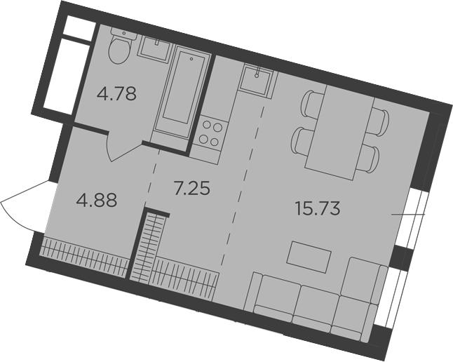 Студия, 32.64 м²– 2