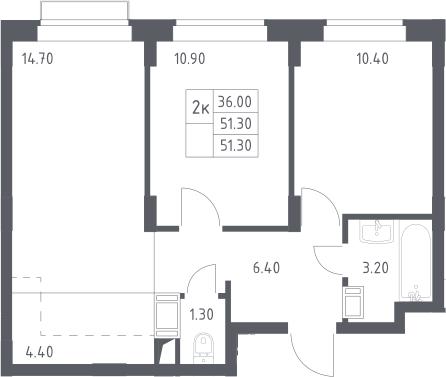 3Е-к.кв, 51.3 м²