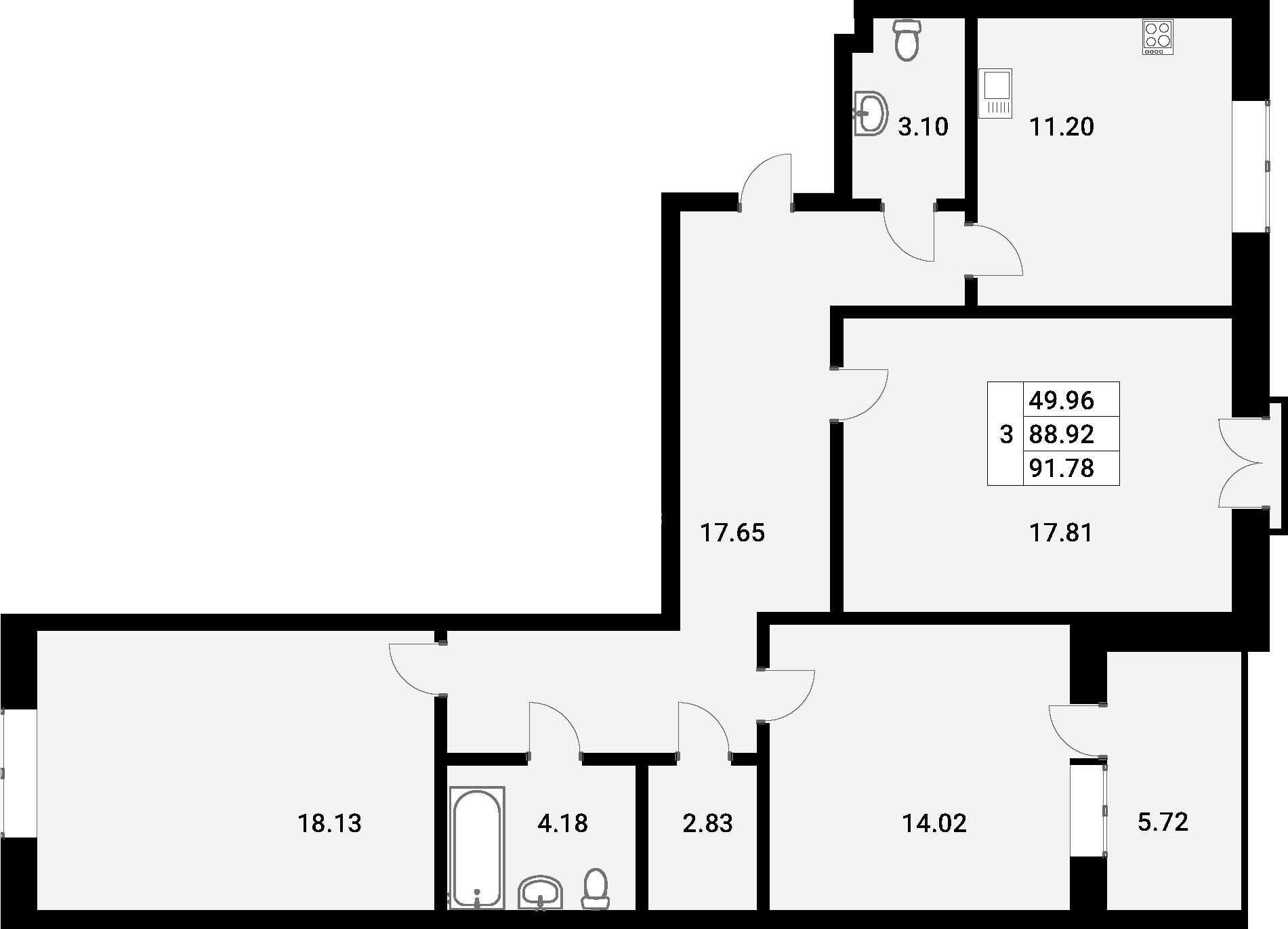 3-к.кв, 91.78 м²