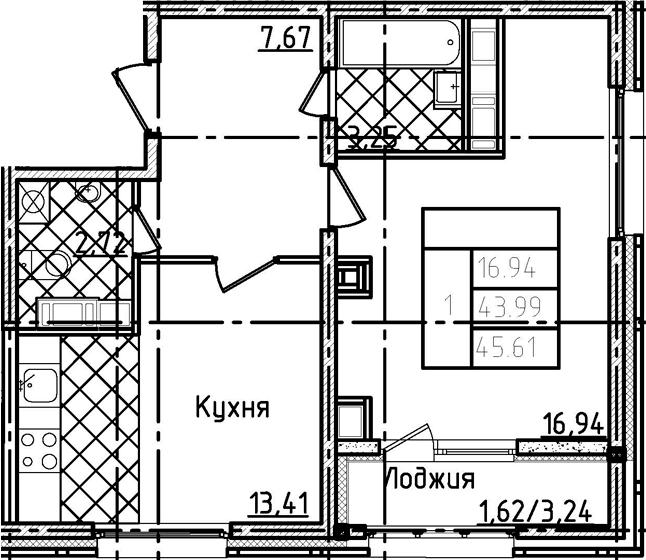 1-к.кв, 45.61 м²