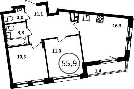 3Е-комнатная, 55.9 м²– 2