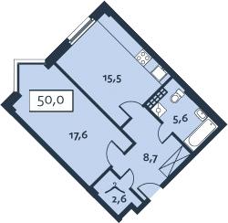 1-к.кв, 49.97 м²
