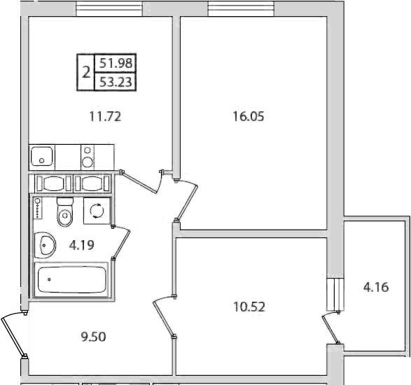 2-к.кв, 53.23 м², от 8 этажа