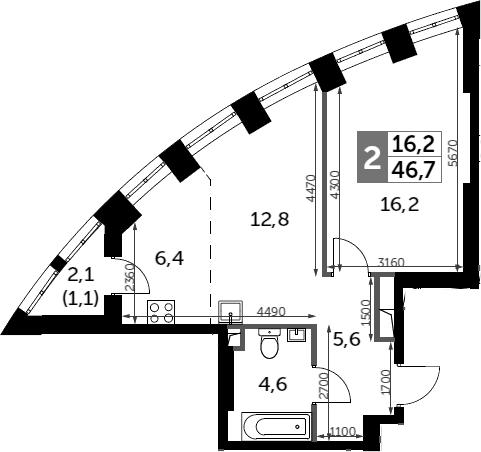 2Е-к.кв, 46.7 м²