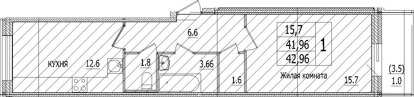 1-к.кв, 45.29 м²