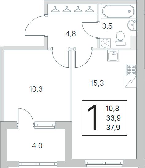 2Е-комнатная, 33.9 м²– 2