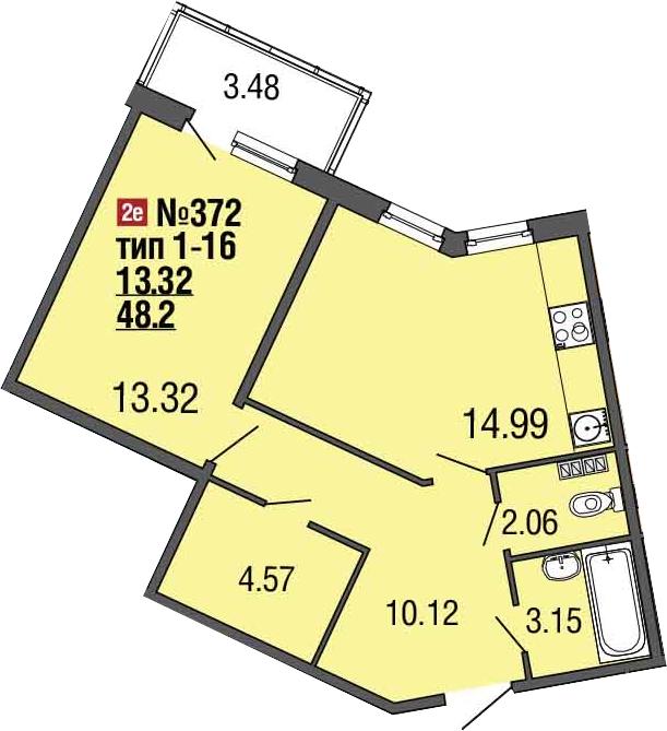 2-к.кв (евро), 51.68 м²