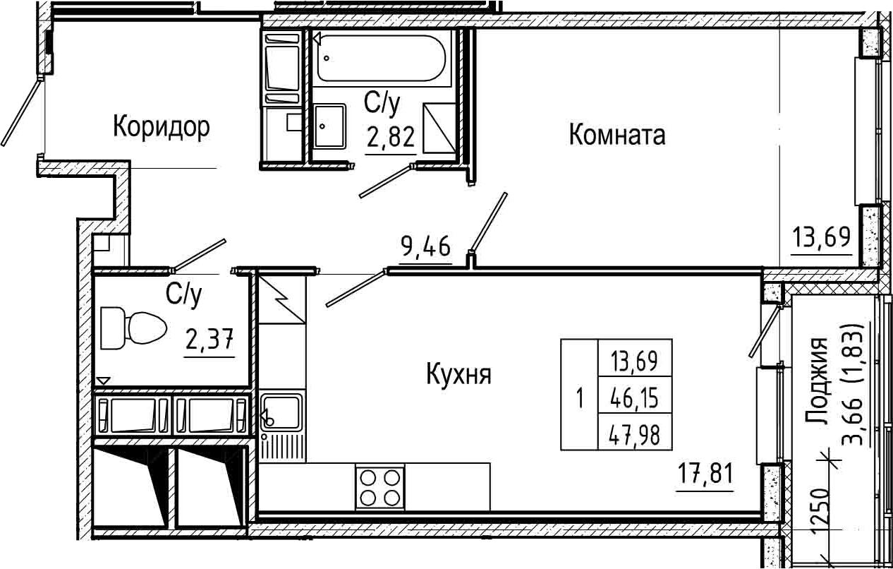 2Е-к.кв, 47.98 м², 14 этаж