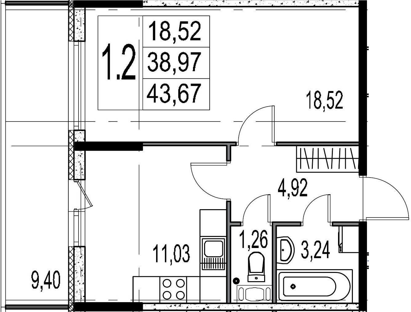 1-комнатная, 38.97 м²– 2