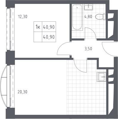 2Е-к.кв, 40.9 м², 17 этаж