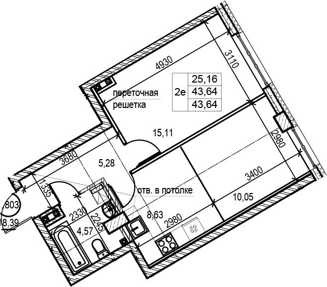 2Е-комнатная, 43.64 м²– 2