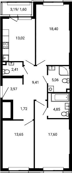 3-к.кв, 91.69 м²