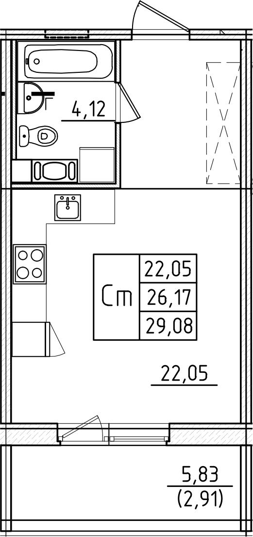 Студия, 29.08 м²– 2