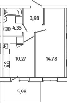 1-к.кв, 35.17 м²