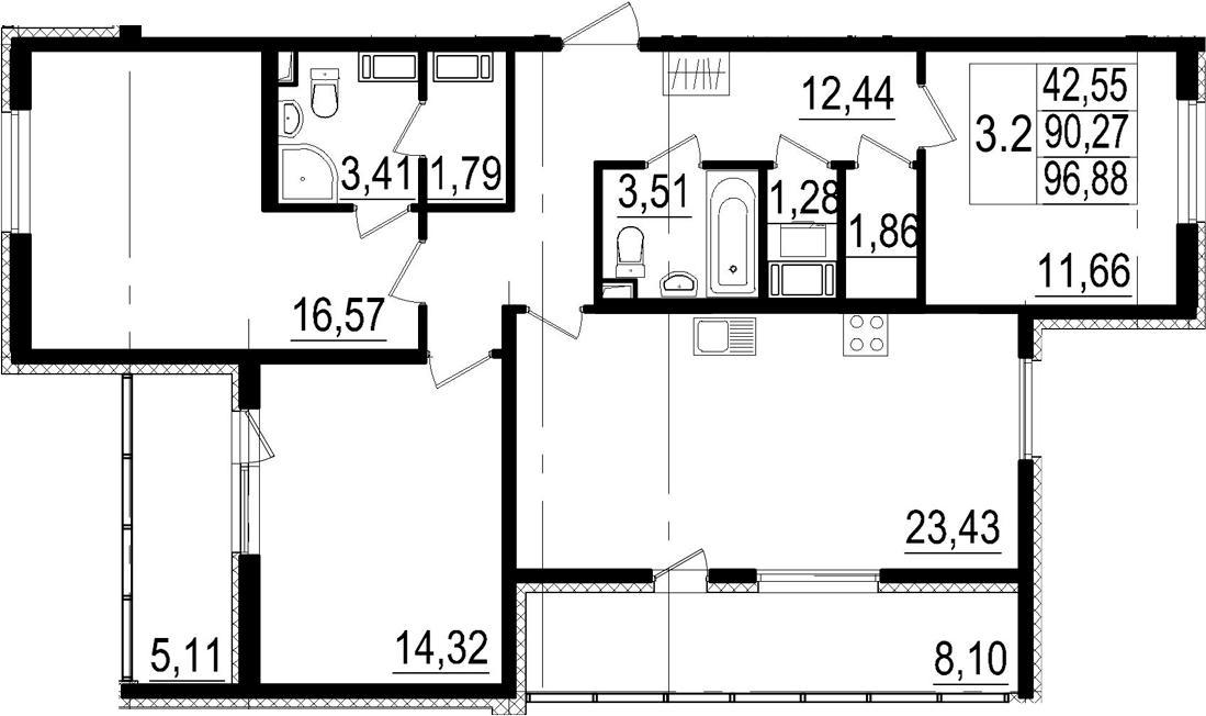 4Е-к.кв, 90.27 м²