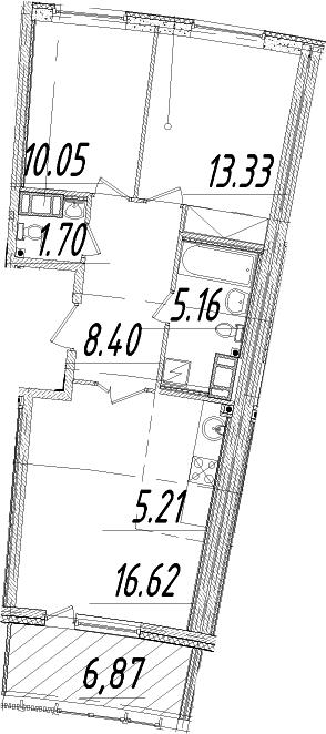 3Е-комнатная, 63.91 м²– 2