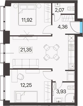 2-комнатная, 55.88 м²– 2