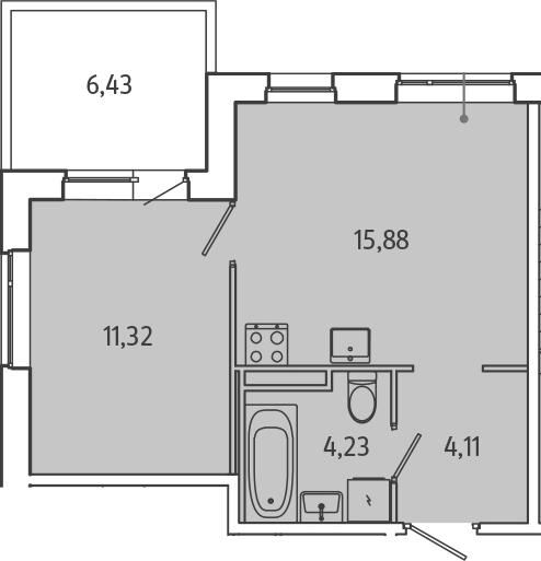 2-к.кв (евро), 41.97 м²