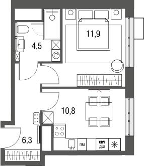 1-к.кв, 33.6 м²
