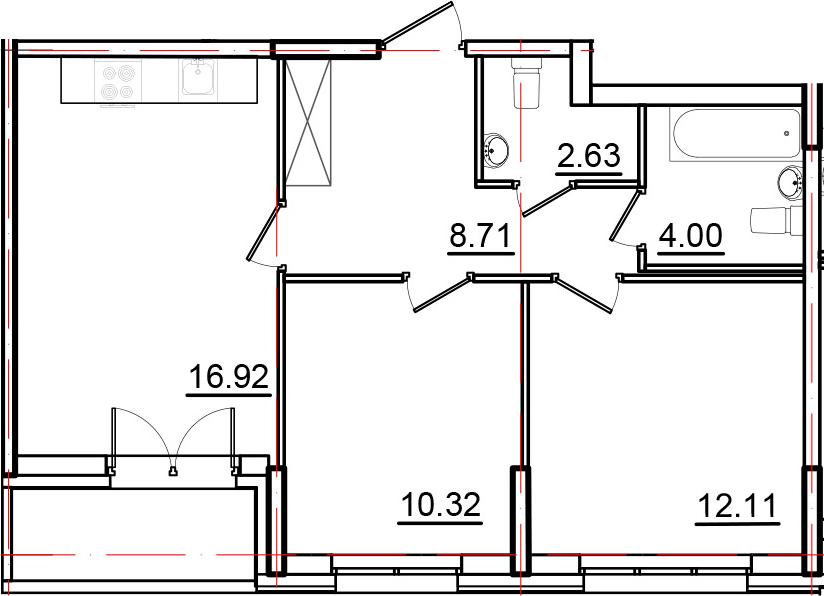 3Е-к.кв, 56.51 м², 2 этаж