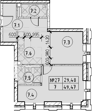 2Е-комнатная, 49.47 м²– 2