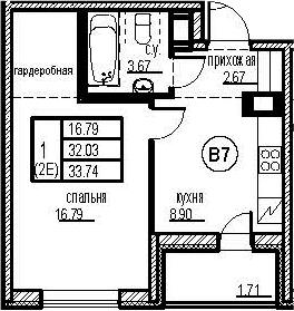 1-к.кв, 35.45 м²