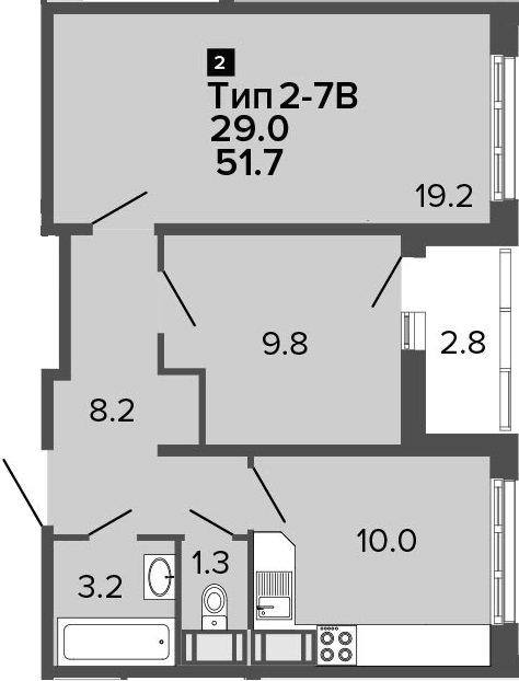 2-к.кв, 51.7 м², от 20 этажа