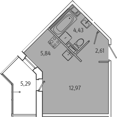 Студия, 28.5 м², от 3 этажа