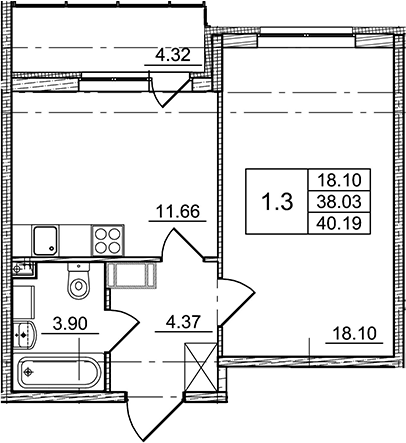 1-комнатная, 38.03 м²– 2