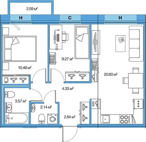 3Е-комнатная, 53.04 м²– 2