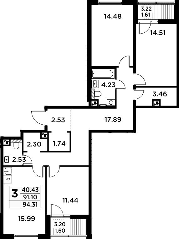 4Е-к.кв, 94.31 м²