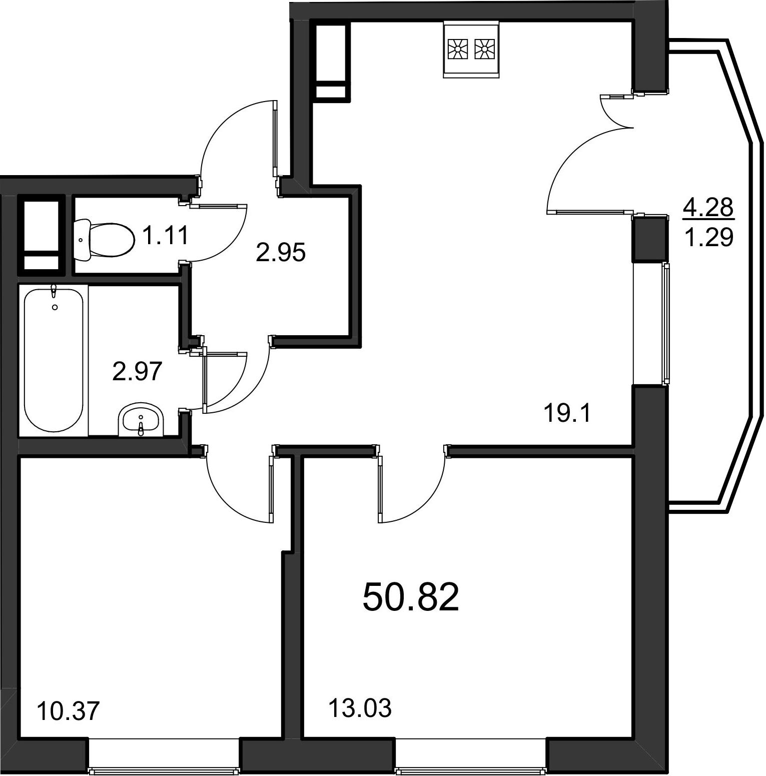 3-к.кв (евро), 53.83 м²
