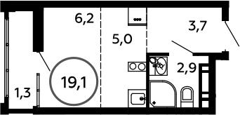 Студия, 19.1 м²– 2
