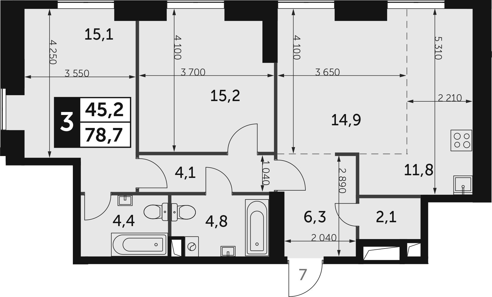 3-комнатная, 78.7 м²– 2