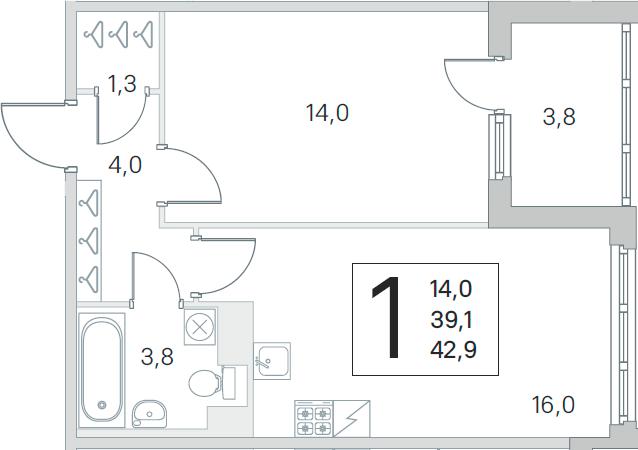 1-комнатная, 39.1 м²– 2