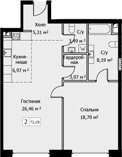 2Е-комнатная, 72.19 м²– 2