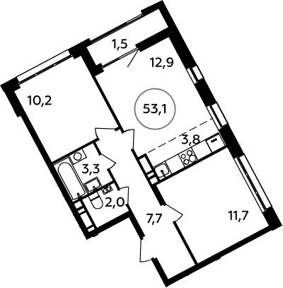 3Е-к.кв, 53.1 м², 10 этаж
