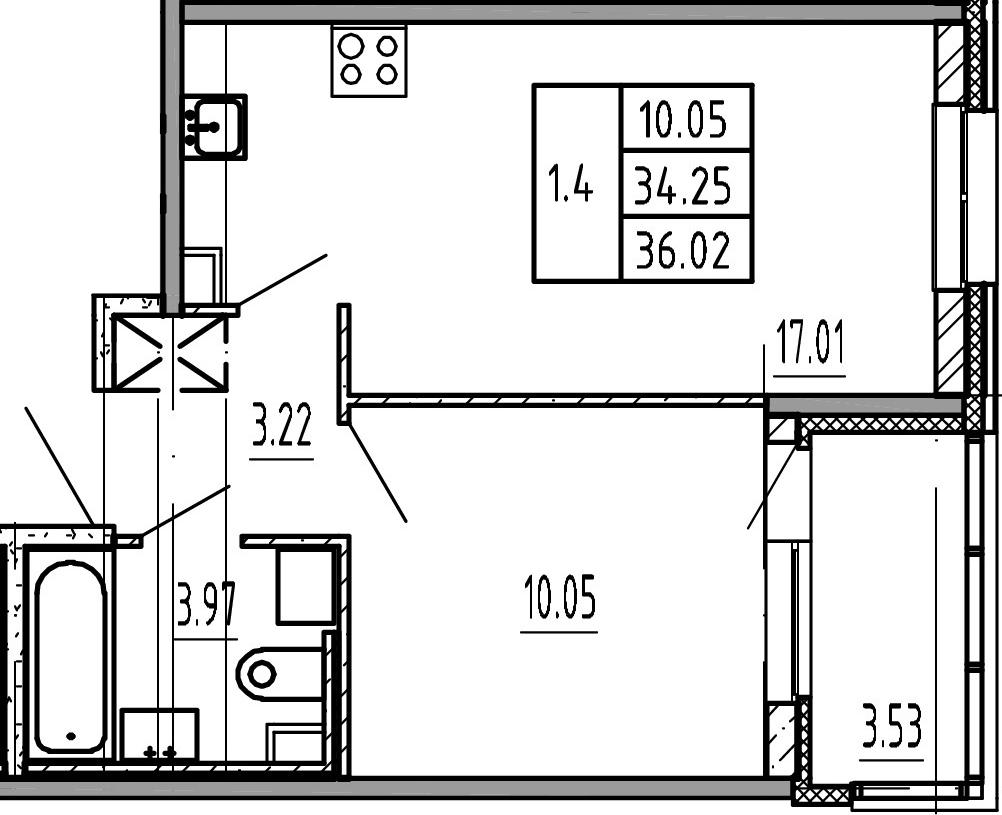 2Е-комнатная, 34.25 м²– 2