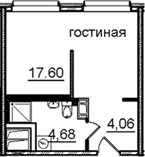 Студия, 26.34 м²– 2