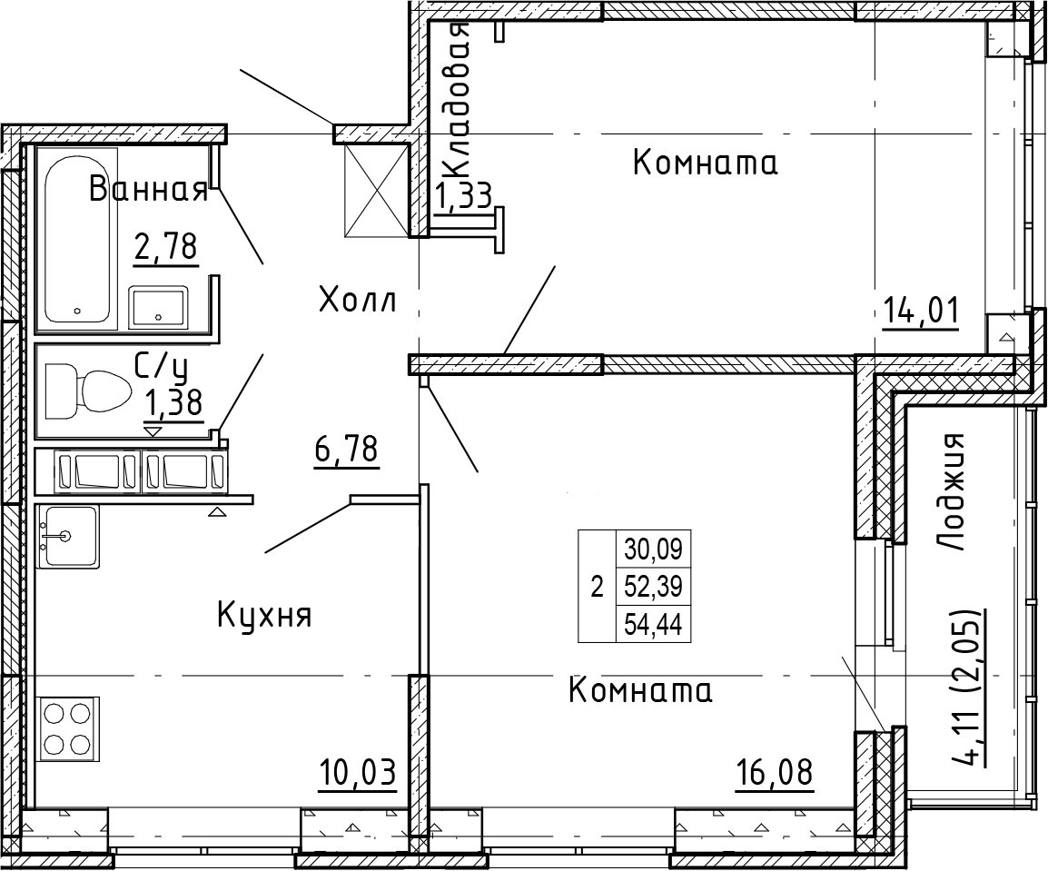 2-к.кв, 56.49 м²