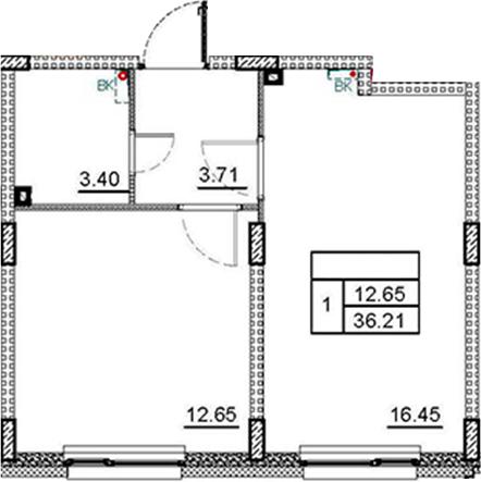 2Е-комнатная, 36.21 м²– 2