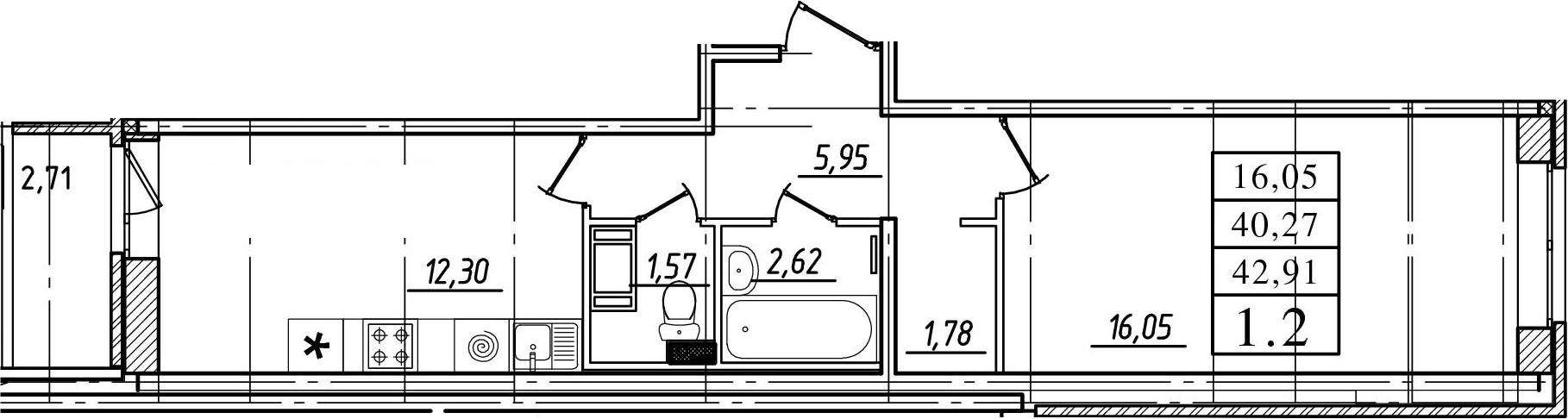 1-к.кв, 40.27 м², 14 этаж